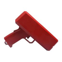 Dinheiro por atacado canhão dinheiro arma nova marca conta dinheiro dólar arma de brinquedo lançador de dinheiro legal festa do carro vermelho decorações de interiores de