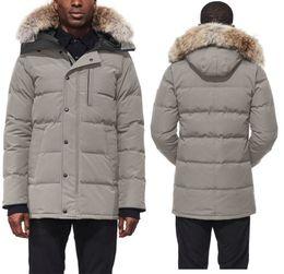 Bajada de chaqueta online-2019 Canada Men Winter Down Parkas Hoodie Black Navy Grey Jacket Abrigo de invierno / Parka Fur Sale con salida de envío gratis