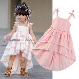 2019 розовые платья для девочек Розничная платья для девочек слинг розовый торт ласточкин хвост свадебные платья принцесс дешево розовые платья для девочек