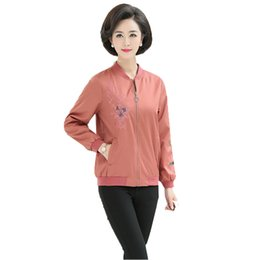 middle aged plus size clothing Promo Codes - 2019 Spring Autumn Women's Casual Jacket Ladies Basic Jacket Embroidery Coat Female Baseball Middle-age Clothes Plus Size L-4XL