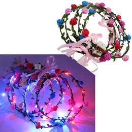 piano vasi fiori artificiali Sconti 100pcs lampeggiante LED Tiara fasce Boho Fiori Hairband Hawaii lei Headwear Glowing Head Wreaths per le ragazze Le donne