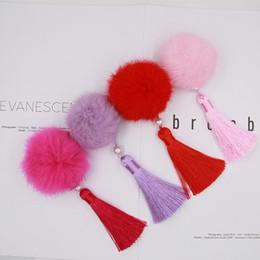 Pinzas para el cabello tela flores online-1 par = 2 piezas Sweet Girls Lolita Fur Ball Clip Pelo Moda Niñas Tela Flor Borla Clips de pelo Barrette Accesorios para el cabello