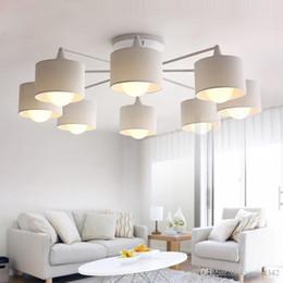 Lampenschirme kronleuchter online-LED-Deckenleuchter für Wohnzimmer E27 Kronleuchter Beleuchtung mit Lampshades Essen Kronleuchter Moderne Küche Lampen Leuchten