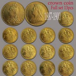 1887-1900 Victoria Sovereign Coins 13 STÜCKE 24mm Kleine Goldmünze Sammlermetallmünze von Fabrikanten