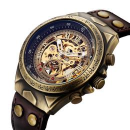 Argentina Hombres Reloj mecánico Reloj automático Esqueleto de cuerda automática Relojes de cuero Retro Steampunk Reloj de pulsera transparente Reloj Suministro