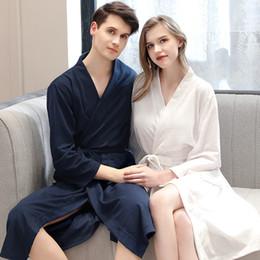 2019 золотые костюмы для новинок Мужской халат кимоно мужчины банный халат лето тонкий пижамы вафельные халаты пары халат женщины ночной халат