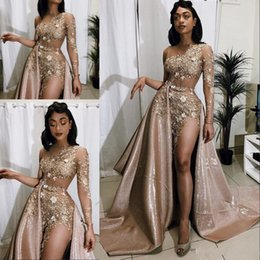 blue maternity evening dresses Coupons - 2020 Sexy Aso Ebi Arabic Gold Beads Prom Dresses with Detachable Train One Shoulder Long Sleeve Lace Appliques Evening Dresses