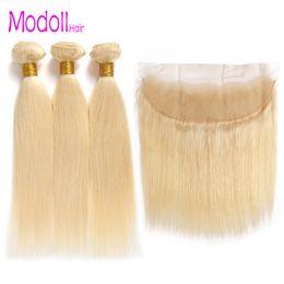 Dhgate remy cabello online-10A grado 613 paquetes con frontal mongol rectos paquetes de pelo virgen con cierre dhgate Remy cabello humano paquetes de rubio con frontal