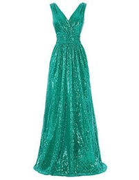 vestido bling coral Rebajas EN STOCK 2019 Vestidos de fiesta largos baratos Lentejuelas Bling Una línea de novia de tul Lace Up Azul lila Fiesta Coral Vestidos de dama de honor Vestidos de noche
