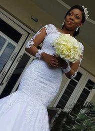estilos de encaje de boda blanco nigeriano Rebajas Vestidos de novia de sirena de encaje vintage 2019 Nuevo diseño Aplique Corte de tren Ilusión Vestidos de novia africanos de manga larga Vestido de Novia W857
