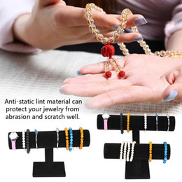 2019 bracelet t bar présentoir 2Types 1/2 couches Bois Noir Lint Bijoux T-Bar stand Collier Bijoux Montre Bracelet Organisateur Display Showcase Holder Rack bracelet t bar présentoir pas cher