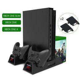 Тонкий вентилятор онлайн-XBOX ONE SLIM X Game Player Тепловентилятор Основание диска Стойка для ручки Зарядное сиденье Двойная батарея
