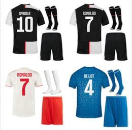 2019 camiseta de fútbol de tailandia al por mayor S-2XL 19 20 JUVENTUS jersey de fútbol kit 2018 2019 DE Ligt Dybala HIGUAIN Mandzukic BUFFON RONALDO camiseta de fútbol uniforme