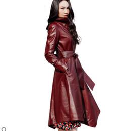 abrigos de piel de oveja Rebajas 2019 Nueva Otoño Invierno Mujeres genuino de la manera chaqueta de cuero de piel de oveja señoras elegantes largas del cuero genuino Coats A054