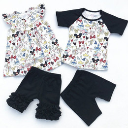 tienda de bebé al por mayor Rebajas 2018 Wholesale Baby Girl Flutter Mickey Pearl Ruffle Short Set Y Boy Mickey Raglan Shorts Set Baby Summer Boutique ropa J190513