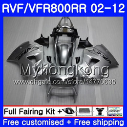 2019 carenagens para honda interceptor Kit para HONDA Interceptor VFR800RR 02 08 09 10 11 12 258HM.42 VFR 800RR 800R VFR800 RR ALL prateado quente 2002 2008 2009 2010 2011 2012 Carenagem carenagens para honda interceptor barato
