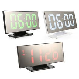 2019 tabelas lcd Relógio Despertador Digital LED Relógio Espelho Multifunções Snooze Tempo de Exibição de Mesa de Luz Noturna LCD Desktop Reloj Despertador Cabo USB tabelas lcd barato