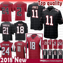 2019 negro camiseta de julio jones nuevos Atlanta Falcons 2 Matt Ryan 11 Julio Jones 18 Ridley Jersey Limited 21 Deion Sanders 24 Devonta Freeman Jerseys para hombre Color Rushred negro