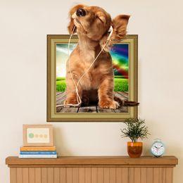 2019 etiqueta do berçário do cão Removível Cães Animais De Estimação Filhotes De Cachorro Bonitos Pug Foto 3D Efeito Da Janela Da Janela Do Vinil Adesivo de Parede Crianças Do Berçário Do Bebê Decoração Decalque etiqueta do berçário do cão barato