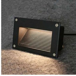 Lampes intégrées en Ligne-En plein air 3W Led Étape Lumière IP68 En Aluminium Embarqué Escalier Coin Lampe Étanche Mur Escalier Lampe Footlight Pour Paysage Jardin