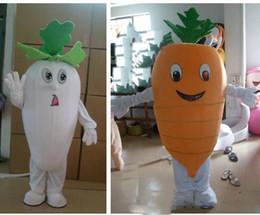 abito di fantasia vegetale Sconti Il vestito operato dalla festa di compleanno della mascotte della carota di bianco / rosso della carota della mascotte della carota di formato adulto della mascotte di alta qualità 2019 libera il trasporto