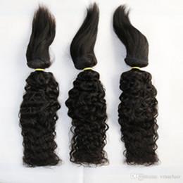 Estensioni dei capelli di treccia vergine online-Brasiliana Virgin Water Wave Braid in Bundles Braid in Weaves Capelli umani 3 Bundles Estensioni dei capelli non trattate di alta qualità 16 18 20 pollici