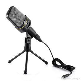 registrazione del computer portatile Sconti Microfono da tavolo con microfono a condensatore nero con supporto per PC portatile Skype Recording 3.5mm