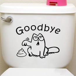 Asientos de vinilo negro online-Gato gracioso decir adiós asiento del inodoro calcomanías de pared negro baño ventana del coche decoración para el hogar animal de la historieta pegatinas de pared de vinilo papel tapiz