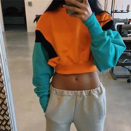 Vente en gros Mode Femmes Printemps Automne Mignon Pinkycolor Orange Hoodies À Manches Longues Lâche Crop Top Sweat Casual Patchwork Cloth ? partir de fabricateur