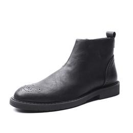 Marcas de botas pontudas para homens on-line-Marca de Couro Genuíno Dos Homens Botas de Estilo Britânico Todos Os Combinar Vinho Tinto Preto Simples Apontou Toe Botas de Tornozelo Homens sapatos