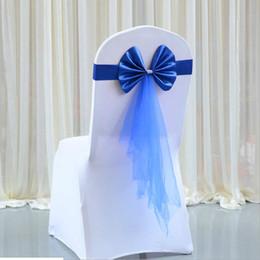 Il tulle fa decorazioni di nozze online-10 pz / lotto Tulle Sash Ribbon Bow Ornament Wedding Elastico Copertura Tela Telai Sash Party Decorazione Banchetto Decorazione Arco Colori