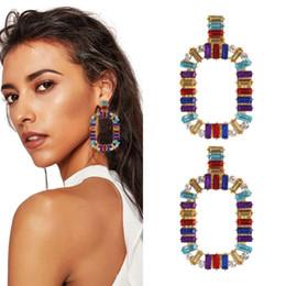 Canada diamants colorés pendent boucles d'oreilles pour les femmes western vente chaude mode fille lustre en cristal boucle d'oreille de vacances style bijoux cheap western style jewelry Offre