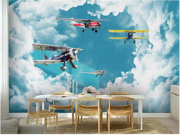WDBH custom mural 3d photo wallpaper Blue sky and white clouds airplane children s decor living room wallpaper for walls 3 d