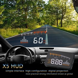 a8 hud Rebajas X5 Coche HUD Head Up Display Vehículo OBD2 Coche Velocímetro Parabrisas Proyector Velocidad de conducción Voltaje de alarma MPH KM / H Pantalla