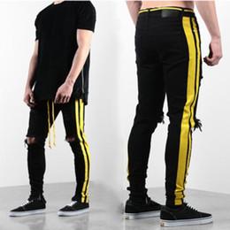 Pantalones de sarga online-Pantalones para hombre del diseñador pantalones vaqueros para hombre desteñida Zipper los pantalones vaqueros flacos de los hombres de Hip Hop del diseñador del Mens agujero arriba qualiy Denim 3 colores
