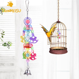 bead pets Promo Codes - Multicolored Acrylic Pet Bird Parrot Toy Colorful Beads with Hook Bell Random Color 1pcs
