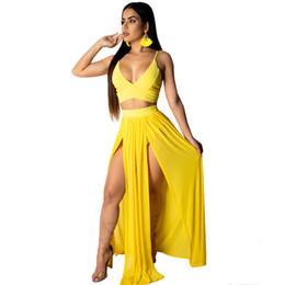 Due pezzi maxi skirt set online-LSZYOWS Summer Women Two Piece Set Strap Sexy Crop Top e Chiffon Maxi Skirt 2 pezzi Set High Split Casual Beach Party Outfit