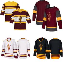 2019 могучие утки джерси ccm xl Пользовательские 2019 Штат Аризона Sun Devils Хоккей Джерси Колледж Хоккей Трикотажные Изделия Все Сшитые Мужчины Женщины Молодежь Зеленый Бесплатная Доставка