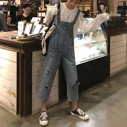 korean style jumpsuits Promo Codes - Jumpsuits Women Ankle Length Hole Casual Loose Denim Korean Style Students Pockets Womens Classic High Waist Trousers Female