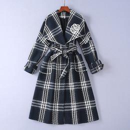 Tweeds kleidung kleidung online-1126 2018 Herbst Womens Mantel Revers Hals Button Langarm Plaid Tweed Marke Gleichen Stil Mode Womens Kleidung SH