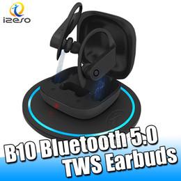 Pro-headset online-B10 Wireless Bluetooth Headset Sweatproof Wasserdicht Luxuxentwurf Kopfhörer mit Mikrofon für iPhone 11 Pro Samsung note10 TWS Earbuds izeso