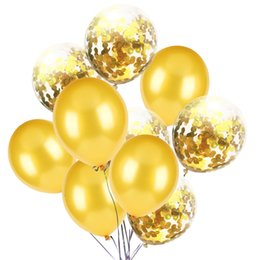 2019 conjuntos de decoración de la ducha del bebé 10 unids / set Rose Gold Balloon Metallic Confetti Glitter Ballons Baby Shower boda Blush cumpleaños decoraciones de fiesta conjuntos de decoración de la ducha del bebé baratos