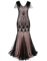 2020 gatsby kleid plus größe QUALITÄT Plus Size Frauen 1920er Jahre Vintage langes Abendkleid Perlen Pailletten Meerjungfrau Gatsby Party Abendkleid mit Ärmel günstig gatsby kleid plus größe