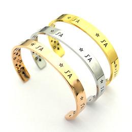 Bracelete em forma de c on-line-Amor de alta qualidade Pulseiras AJ carta em forma de C Stainlese Aço Rose banhado a Ouro pulseira de Pulso Pulseiras bangles para mulheres homens jóias amigável