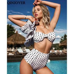 d339fb2309 QINJOYER taille haute Bikini Set femmes rétro maillot de bain à volants Vintage  Dot Triangle Bikini Brésilien Biquini Push Up Maillot De Bain Plage point de  ...