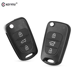 Argentina Llave del coche Nuevo 3 Botones Flip Key Shell Remoto Para Hyundai I30 IX35 Kia K2 K5 Plegable Caja de la llave remota cheap kia flip key shell Suministro
