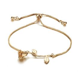 Braccialetti di fiori di nozze online-Braccialetto di fascino del fiore della rosa di modo per gli amanti ispirati ragazza della ragazza del braccialetto del braccialetto di Boho dei braccialetti ispirati della sposa