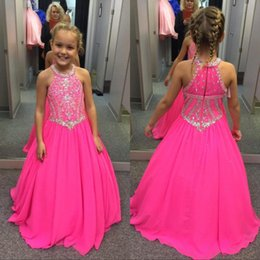 kids red evening gowns Coupons - Fuchsia Beaded Crystals Girls Pageant Dresses A Line Halter Neck Kids Celebrity Evening Prom Party Gowns Custom Made