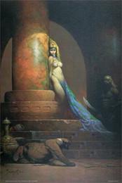 Decoração egípcia on-line-EGYPTIAN QUEEN - FRAZETTA decoração de parede Art Silk Print Poster 938
