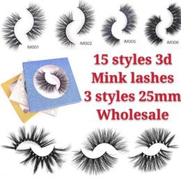 2019 tiras de cílios de cabelo humano 2019 New15 pares de cílios Natural / grosso longo 3D e 25 mm vison lashe falso vison cílios Handmade cílios extensão para maquiagem de beleza 15 estilos